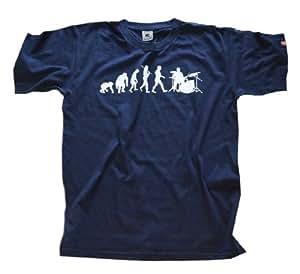 Shirtzshop Drummer T-shirt pour adulte Motif évolution batteur Bleu bleu marine s