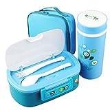 Inconnu Ensemble De Boîte À Bento Lunch Box avec Une Tasse Mug dans Un Sac Etanche Isotherme Portable des Aliments Micro-ondable - Tous en Plastiques sans BPA - (Bleu)