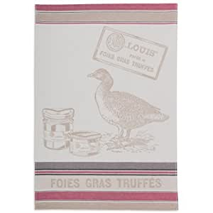 Coucke French Jacquard Cotton Kitchen Dish Towel 19x29 inch - Gourmet Series Collection - Fois Gras-PJ-Gres Color: Fois Gras - PJ-Grey
