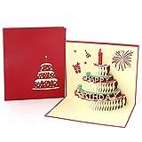 Paper Spiritz Carte de vœux pop-up pour anniversaire Gâteau de bougie rouge pop up card pour femme Anniversaire de fête de la fête des mèresCoupe au laser avec enveloppe