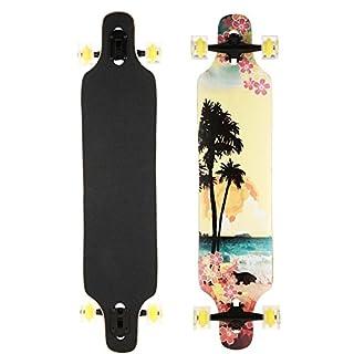 AIMADO Jungen und Mädchen Drop Down Longboard Komplette Skateboard Ahorn Holz Cruiser Skateboard Komplettboard (Hawaii)