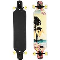 AIMADO Jungen und Mädchen Drop Down Longboard Komplette Skateboard Ahorn Holz Cruiser Skateboard Komplettboard