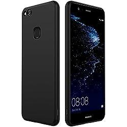 Anjoo Coque Compatible pour Huawei P10 Lite, Noir Silicone Matte Housse Etui Anti-Rayures Noir Silicone Coque de Protection Compatible pour Huawei P10 Lite