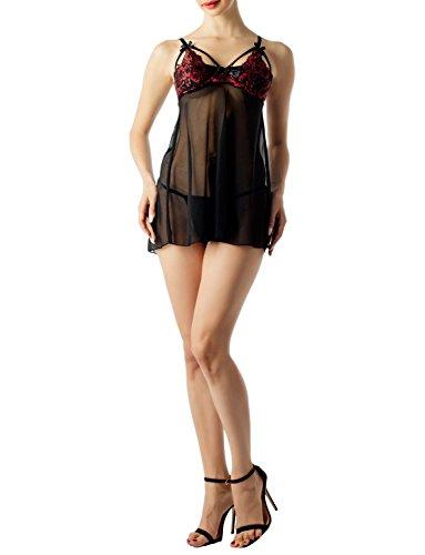 iB-iP Damen Bestickt Bh Riemchen Spitze Schiere Nachthemd Mini Babydoll Dessous, größe: XL, Schwarz (Bestickt Schiere Bh)