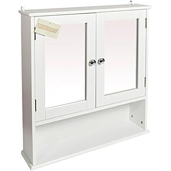 Woodluv Wall Mounted Mirror Cabinet Bathroom Storage Furniture White
