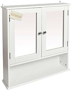woodluv meuble de rangement mural de salle de bain avec miroir blanc cuisine maison. Black Bedroom Furniture Sets. Home Design Ideas