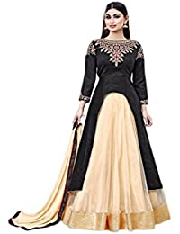 Ethnic Empire Women's Banglory Silk Semi-Stitched Anarkali Salwar Suit Piece (Ethnic_FlexER10625_Black_Free Size)