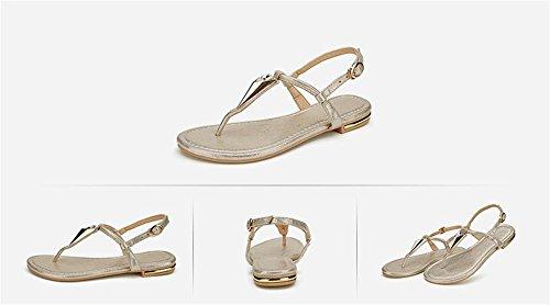 ALUK- Été - coréen plat décontracté sandales mode avec des chaussures de plage ( couleur : Or , taille : 35 ) Or