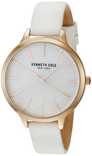 Kenneth Cole Women's KC15056001 White Leather Analog Quartz Dress Watch