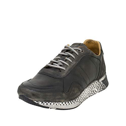 Cafe Moda Herren Sneaker Ken Leder Sneaker aus Glattleder mit Animal-Print (43 EU, grau) Leder Animal-print