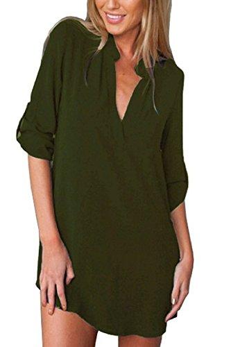 Donne Le Maniche Lunghe Camicia / Collo Di Chiffon, Massimo Camicetta Armygreen