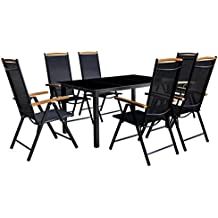 vidaXL 7-tlg. Gartenmöbel-Set Aluminium Gartengarnitur Essgruppe Sitzgruppe Klappstuhl