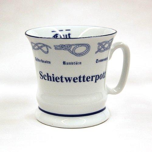 Schietwetter-Pott, Hamburg Kaffee-Becher mit Seemannsknoten, schmeckt auch mit Tee bei Schmuddelwetter