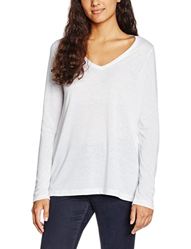 Ichi Jasmin V LS, T-Shirt Donna Weiß (white Solid 10100)