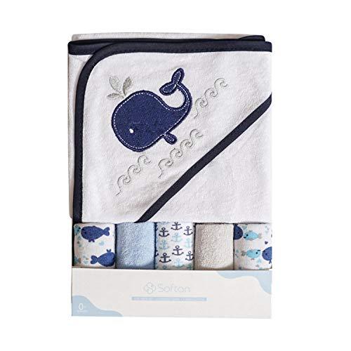 Toalla de baño con capucha y toallitas para bebé, Extra suave y ultra absorbente, Paquete de 6 regalos...
