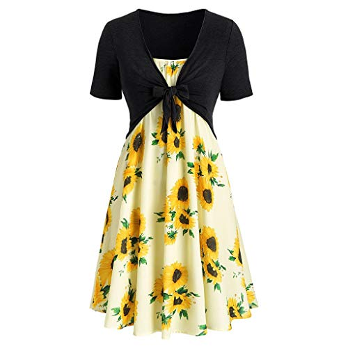 Yvelands Damen Sommerkleider Set Mode Kurzarm Bogen Knoten Verband Top Sunflower Print Minikleid ()