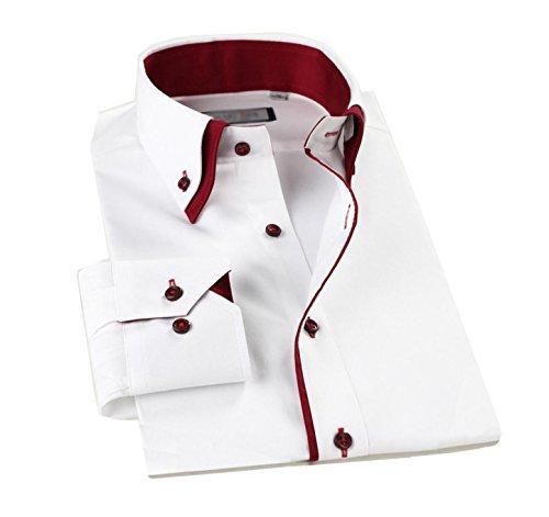 Lyon Becker® Mens Designer Italian Slim Fit Formal Casual Shirts Long Sleeve Size S M L XL (M, Wine)