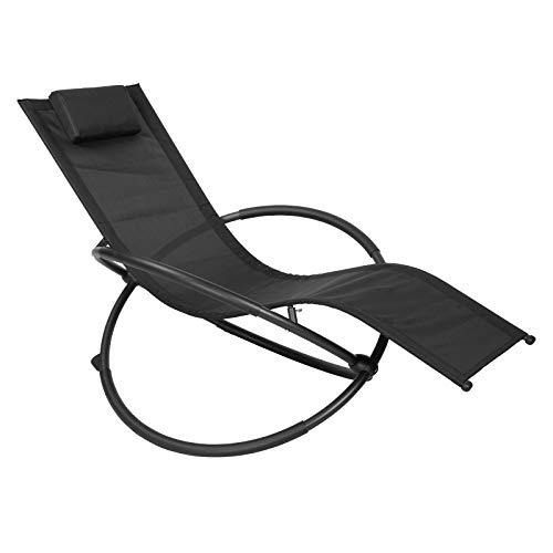 WOLTU Sonnenliege Gartenliege Schwingliege klappbare Relaxliege Liegestuhl, bis 160KG belastbar, atmungsaktiver Textilenbezug, für Garten und Terrasse, Schwarz, LS002sz