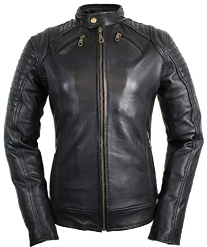 MDM Damen Motorradjacke mit Protektoren in schwarz (2XL)