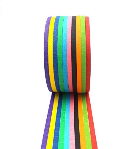 farbige klebestreifen Farbiges Klebeband – Dekorativ, Beschriftbar - Große schmale Rollen – Dekoration für Klassenzimmer, Kunstprojekte für Kinder, Feiertagsdekorationen – Buntes Klebestreifen Tape mit Leuchtenden Farben