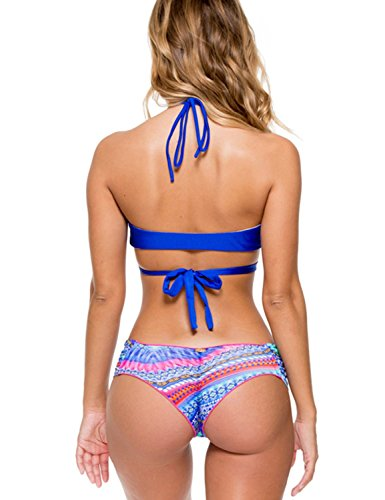 Blooming Jelly Frauen Zweiteilige Neckholder Geschnallt Feste Top,Low Waist Pattern Ruched Sexy Bottom Damen Blumen Triangel Bikini Set Blau #1