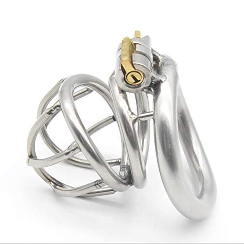 Preisvergleich Produktbild JIANPING Gebogenes Metall-Edelstahl-Jungfräulichkeitssc... mit eingebautem Schließzylinder,  damit Männer Gesundheitsprodukte tragen können Massager (größe : M 45mm)