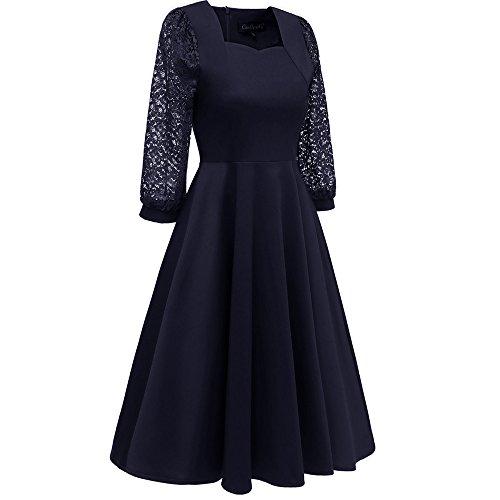 ❤Inawayls Damen 1950er Elegant Spitzenkleid Patchwork Knielang Festlich Cocktail Abendkleid Rockabilly Kleid