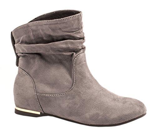 Elara Damen Schlupfstiefel | Bequeme Klassiche Stiefeletten | Flache Boots Grau New -