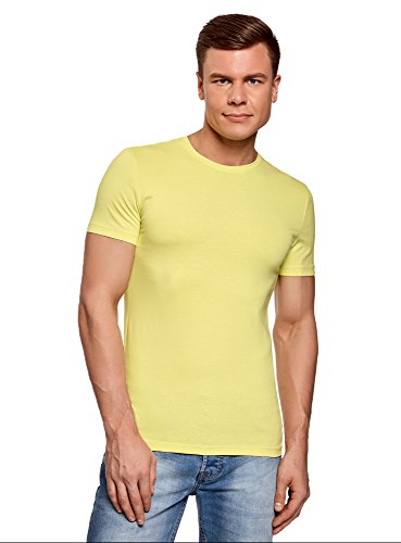 oodji Ultra Herren Tagless T-Shirt Basic Aus Baumwolle Gelb (6700N)