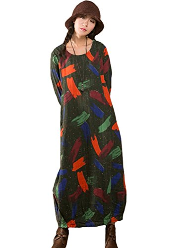 MatchLife Femme Printed O-Cou Longues Robe Vert