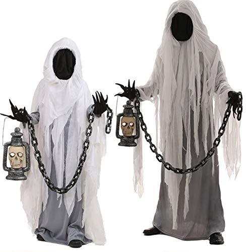 Voolok 2pcs Ghost Halloween Karneval Party Kostüm, Polyester Robe, mit Lampe und Eisenkette, Multifunktions-Design, leicht zu reinigen, für Party-Unfug (Party Stadt Kostüm Für Erwachsene)