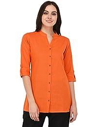 Pistaa Women's Orange Solid Cotton Short Top Kurti