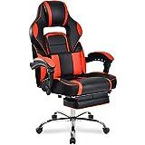 Merax Schreibtischstuhl Gamingstuhl Bürostuhl Sportsitz Drehstuhl Chefsessel aus dem elastischen Stoff mit Kissen 3D Armlehnen einstellbar belastbar bis 150kg (Orange)