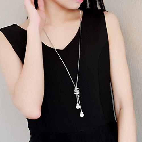 LnLyin Damen Pullover Halskette Lange Einfache Perle Anhänger Lange Halskette Anhänger Diamant Quaste Pullover Kette
