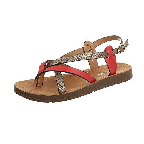 Ital-Design Zehentrenner Damen-Schuhe Schnalle Sandalen & Sandaletten Rot Multi, Gr 38, 3703-