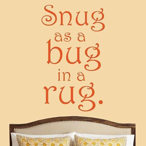 Snug As A Bug-Adesivo decalcomania da parete, per camera da letto, soggiorno con citazione hall sala da pranzo, grande - Bug Snug Nursery