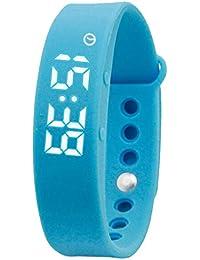 led azul de silicona reloj de pulsera deportivo multifunción calorías podómetro de las mujeres inteligentes digitales