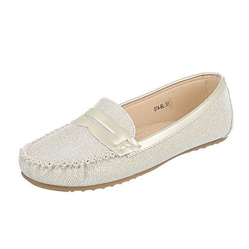 Ital-Design Mokassins Damen-Schuhe Geschlossen Moderne Halbschuhe Gold, Gr 37, 074-Bl-