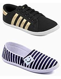 Asian Shoes Combo Amy-52 Black Golden & Amy-91 Blue White Women Canvas Shoes