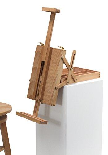 """Tischstaffelei """"Meran"""" mit Malkoffer, aus Buchenholz (FSC), für Keilrahmen bis max. 70cm, Sitzstaffelei, Kofferstaffelei"""