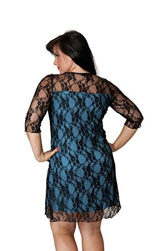 Nouvelle Damen Plus-Size Spitze Kleid Türkis