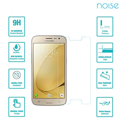 Noise Tempered Glass Screen protector For Samsung Galaxy J2 - 6 (New 2016 Edition) with 2.5D Curved Edge, 9H Hardness, Ultra Thin (Combo Deal) (1 Pack)  available at amazon for Rs.139