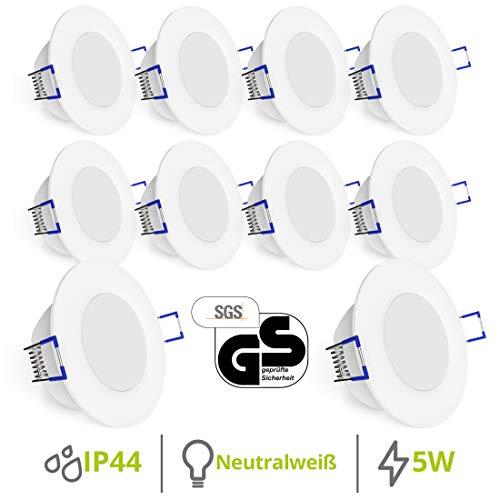 LED Decken Einbauleuchten 10er Set extra flach - Strahler Spot neutralweiß für Bad, Küche, Möbel, Außen ()
