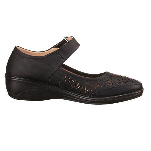 Damen Schuhe, H308-1, SANDALEN KLETTVERSCHLUSS HALBSCHUHE Schwarz