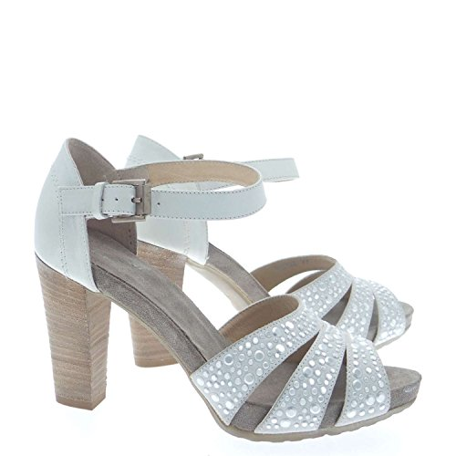 Janet Sport 33702 Sandalo Donna 100% Pelle Bianco Bianco 37