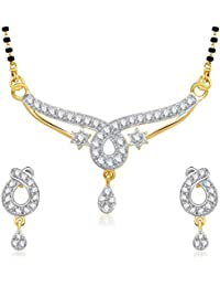 Meenaz Mangalsutra Pendant Set With Earrings For Women Girls Jewellery Set Gold Plated In Cz American Diamond... - B010VLGYC0
