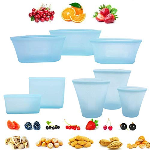 8 Pack Reusable Silicone Food Bag Zip Lock Top Leakproof Containers Stand Up Stay Open Zip Shut Storage Bag Snack Fruit Bag Cup Pattern (Blue) (Zip-lock-storage-container)