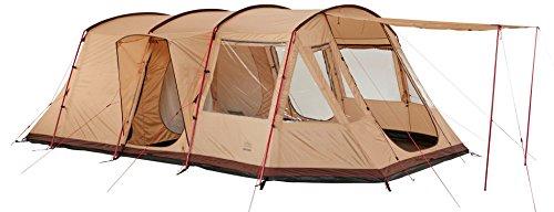 Grand Canyon Dolomiti 6 - Familienzelt, für 6 Personen, 3 Eingänge, teilbare Schlafkabine, großer Wohnbereich, viele Stauraum, leichter Aufbau, eingenähte Bodenwanne, Camping, beige, 602017