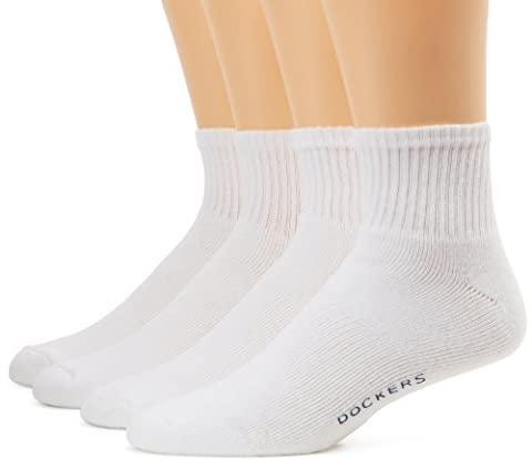 Dockers Men's 8 Pack Cushioned Quarter Socks, Black/White, 10-13 Sock/6-12