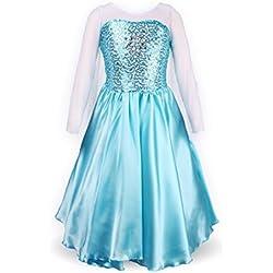 Petites Filles Princesse Elsa Manches Longues Robe Costume (4-5 ans, bleu ciel)
